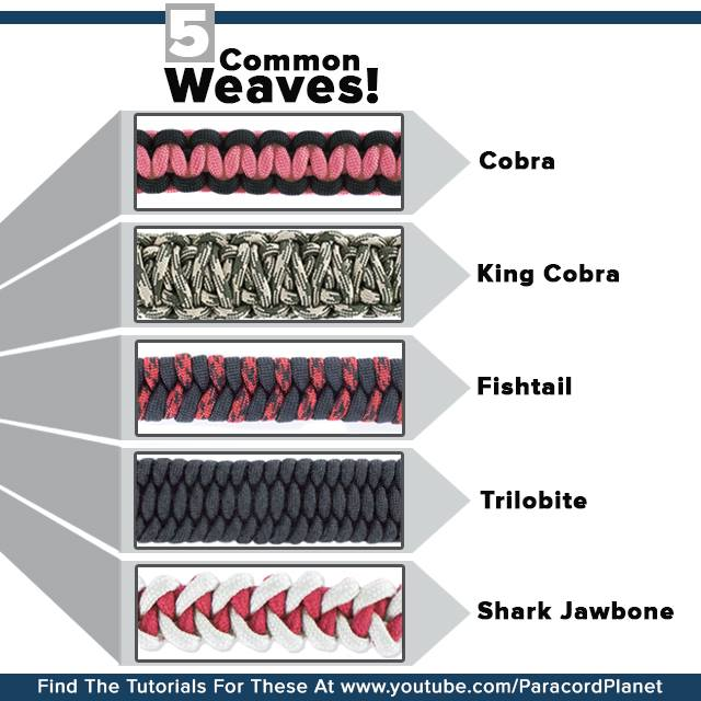 5 Common Paracord Weaves