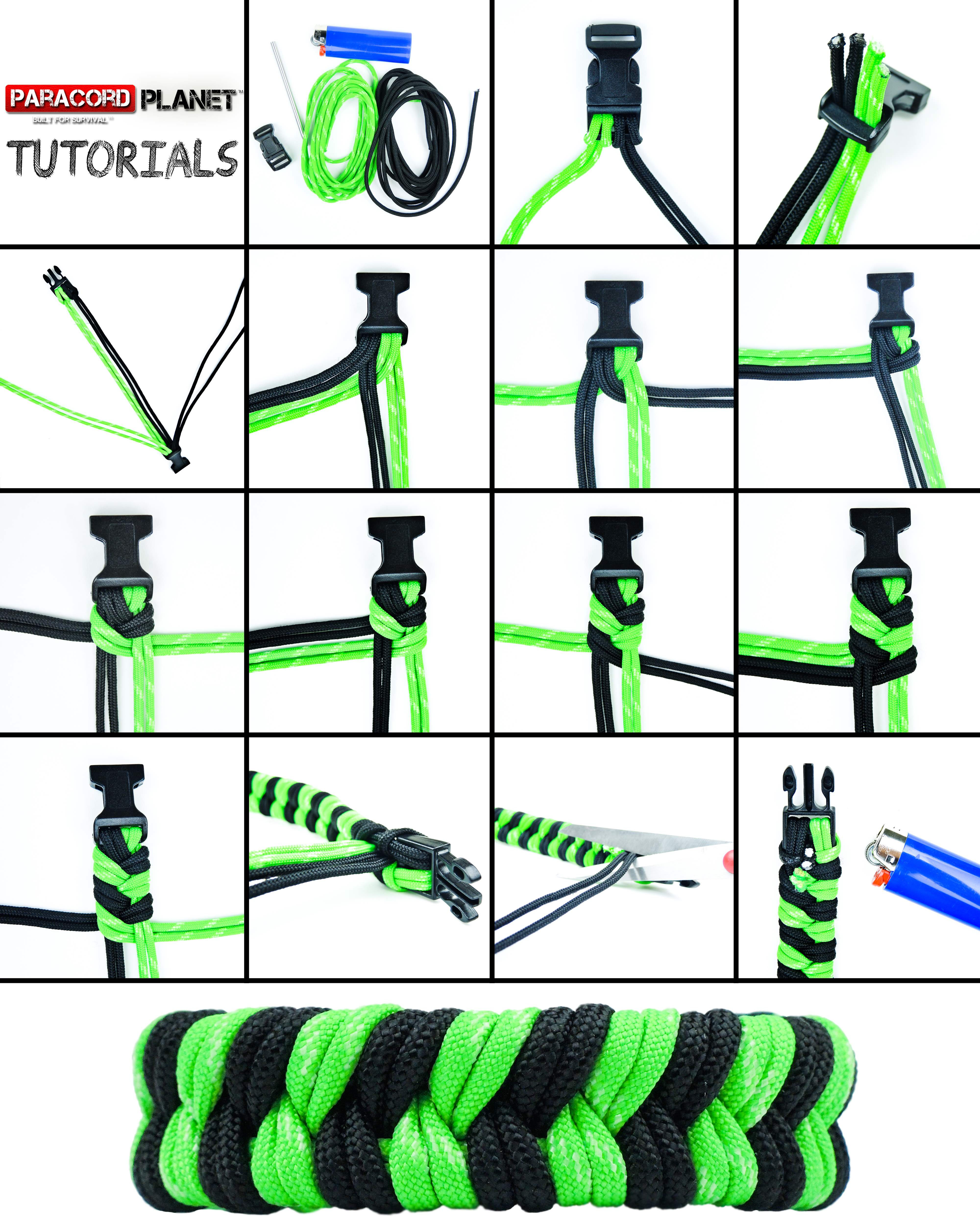 Double fishtail tutorial for How to make a paracord lanyard necklace