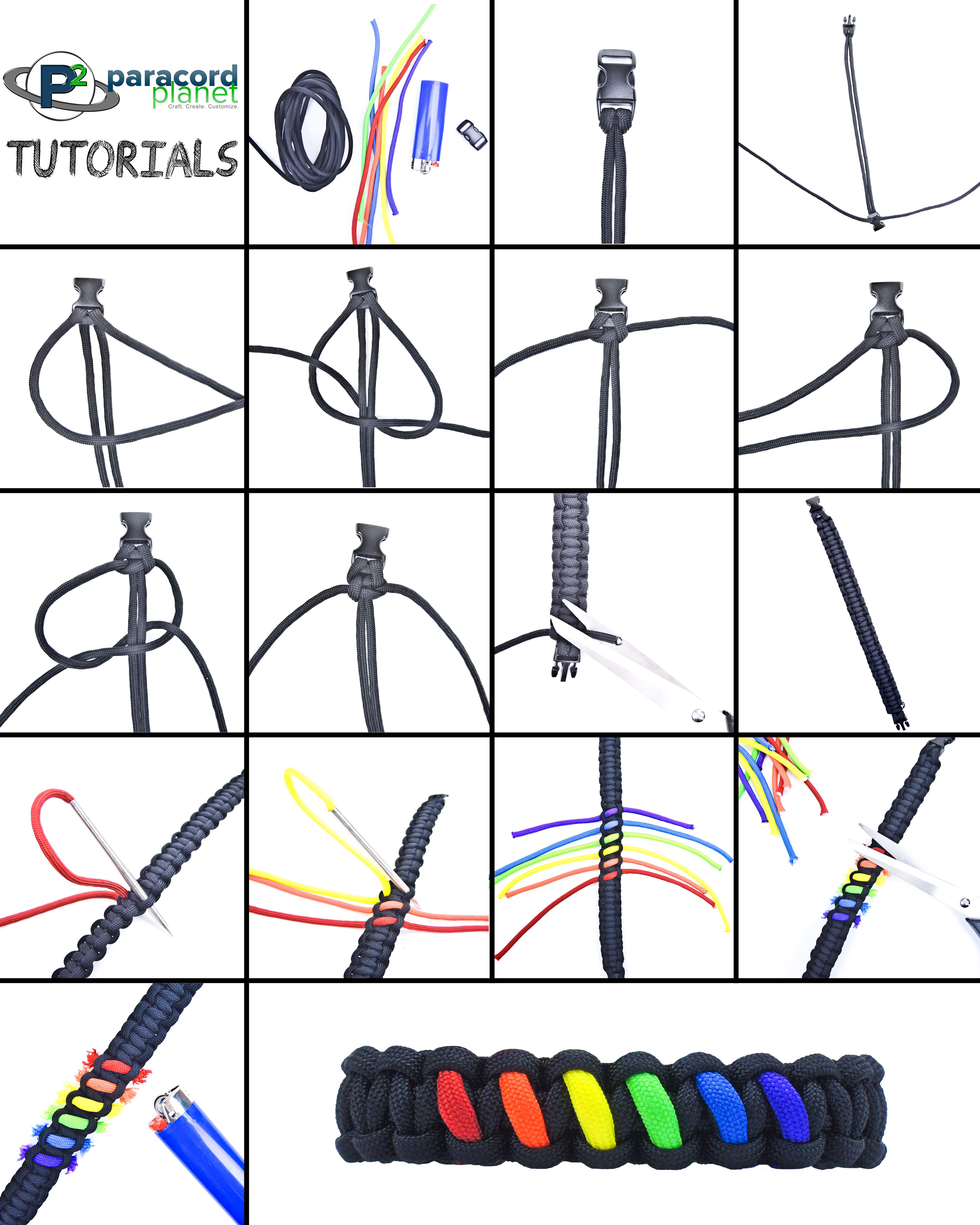 Paracord Rainbow Cobra Bracelet photo tutorial