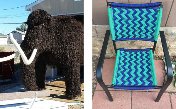 paracord woolly mammoth and woven chair