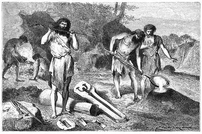 Cavemen wearing Skins