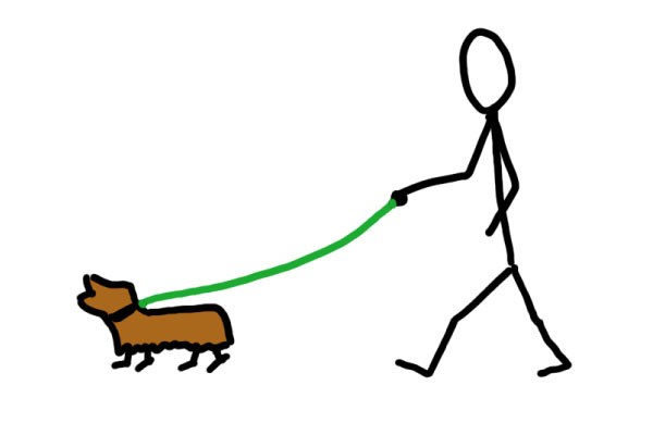 walking the dog with paracord