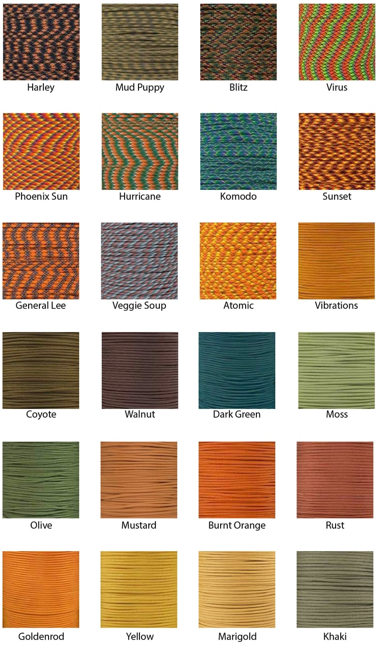 fall paracord colors 2018