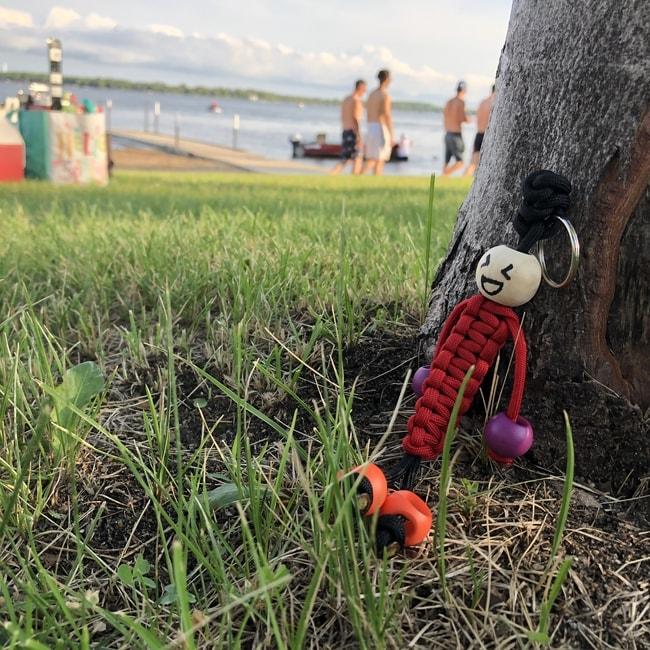 Paracord keychain on the beach