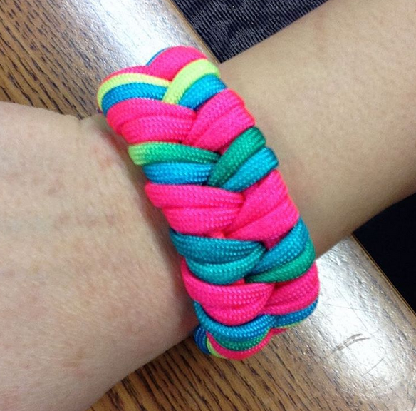 Neon Rainbow and Neon Pink Paracord Bracelet