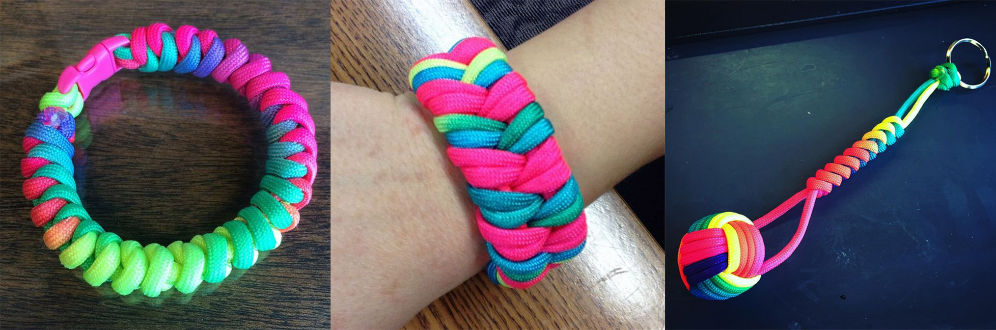 Neon Rainbow Paracord Projects